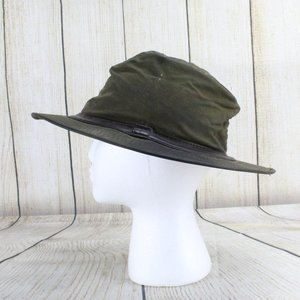 BARBOUR Green Waxed Canvas Bucket Hat Size Medium